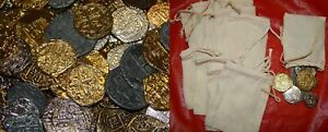 METAL PIRATE TREASURE-100 Gold / Silver Doubloon Replicas w/ 10 drawstring bags