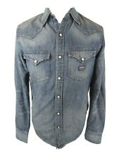 Mens ralph Lauren Denim Shirt Pearlsnap Western Small Blue 38to 40 Chest