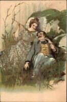 Romance Lying in Gras Nature Gilt Gold Inlay Defco Series PFB #3207 Postcard