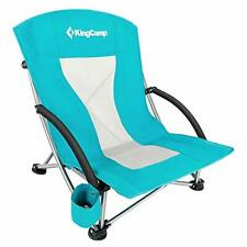 Breathable Low Sling Folding Beach Chair with Mesh Back - Cyan