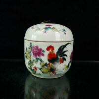 Chinese old porcelain Pastel Blessed Chicken pattern Cover Jar  Receiving Tank