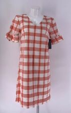 NWT DOWNEAST DRESS Short Sleeve Lined MIDI Plaid Peach White SMALL