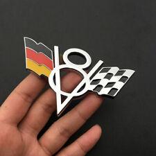 V8 Germany Flag Chrome Front Grille Grill Emblem Badge Sticker For Mercedes-Benz