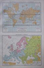 1893 Gran Mapa Antiguo ~ ~ isotérmico vientos gráficos mundo Europa religiones