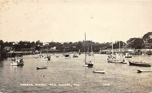 H41/ New Harbor Maine RPPC Postcard 1951 Harbor Sailboats Dock