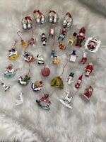 🎄CUTE Lot of 32 Vintage Wooden Christmas Ornaments Angels Dove Bunnies Mice EUC