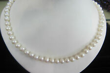 """17""""  6.5mm GENUINE CULTURED PEARL NECKLACE KNOTTED ON SILK WITH STERLING CLASP"""
