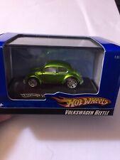 HOT WHEELS VW VOLKSWAGEN BEETLE GREEN 1:87/HO TRAIN SCALE W/CASE L7177 HTF BOX