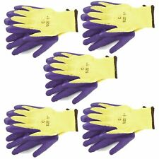 "8"" Builders Protective Gardening DIY Latex Rubber Coated Work Gloves Purple x 5"
