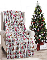 Ultra Cozy & Soft Christmas Holiday White Christmas Cat Plush Warm Throw Blanket