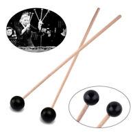 1Pair Xylophone Glockenspiel Hard Rubber Head Hardwood Mallets Sticks Beaters