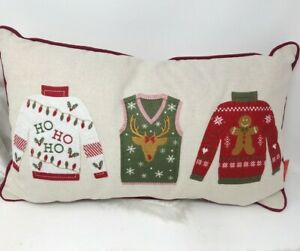 "Nanette Lepore ""Ugly"" Christmas Sweater Holiday Decor Pillow Rectangle ~Reindeer"