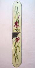 RARES Plaques de propreté Art Nouveau, tôle émaillée com cafetière: Iris violets