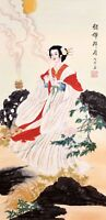 ORIGINAL ASIAN FINE ART CHINESE  FIGURE WATERCOLOR PAINTING-Beauty&Flowers
