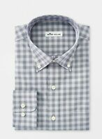 Peter Millar Mens Shirt Blue Size Large L Plaid Print Button Down $129 #597