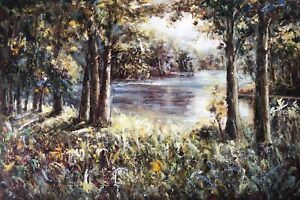 Forest,Original Oil Painting by R. Cook, 91 X 61 cm