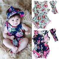 Newborn Infant Baby Girl Kids Floral Romper Jumpsuit Bodysuit Sunsuit Outfit Set