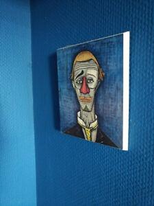 Bernard  Buffet Kunstdruck auf Holz mit Galerie Aufkleber Signiert im Druck Blau