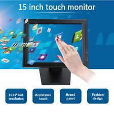 "15"" Touch Screen Monitor LED LCD Display VGA USB for Cash Register Restaurant"