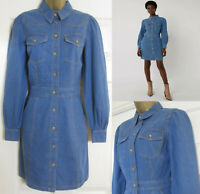 NEW Warehouse Womens Western Mini Denim Shirt Dress Blue Long Sleeve Casual 6-18