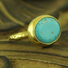 Handmade Hammered Designer Turquoise Ring 24K Gold Over 925K Sterling Silver