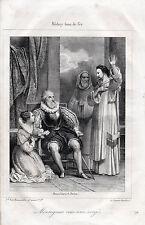 """Gravure Médary bras de fer """" Monseigneur vous serez vengé """"   1842"""