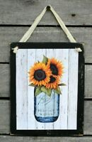 Sunflowers in Blue Mason Jar Primitive Farmhouse Hanging Wooden Wall Sign Plaque