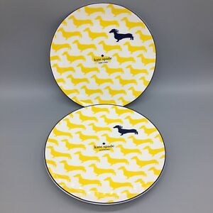 """2 Kate Spade Wickford Plate Set Dachsund Dog Yellow Navy Accent Lunch Dessert 9"""""""