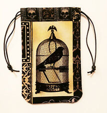 """Raven Tarot Bag - Raven Song - 5""""x7"""" Lined Pouch for Runes Crystals Dice"""