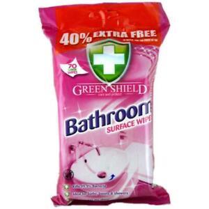 3x Pack of 70 (140) Green Shield Bathroom Surface Wipes Kills 99.9% Bacteria