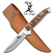 ELK RIDGE Brown Maple Straight FULL TANG Hunting Knife + Sheath ER-048 New!