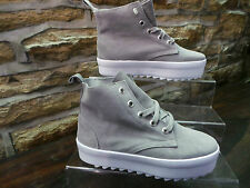 Señoras Shelley London Suede Gris Creeper Estilo Hi Top Boots Uk 5 sólo £ 25 Nuevas