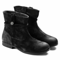 BIRKENSTOCK SARNIA BLACK WOMEN'S BOOTS SUEDE LEATHER ANKLE BOOT BLOCK WEDGE