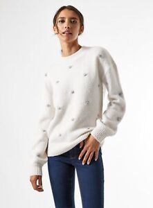 Dorothy Perkins Womens Cream Contrast Bubble Jumper Sweater Pullover Top