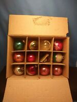 12 Vintage Shiny Glass Christmas Hand Painted ORNAMENTS