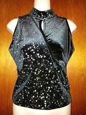 Dance Drill Team Adult Sleeveless Shirt Small Black with Silver Glitter Spots