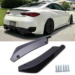 Glossy Black Rear Bumper Splitter Diffuser Canards For Infiniti G37 Q50 Q60 Q70