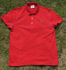 MENS USED RED LACOSTE POLO SHIRT SIZE 5 / MEDIUM