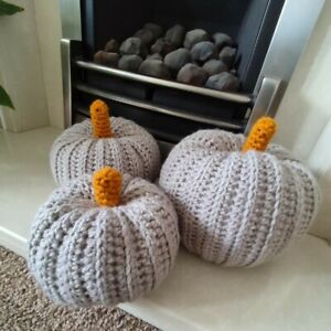 Grey Pumpkin handmade Halloween decorations crochet