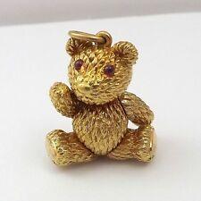 18K Yellow Gold Robert Bielka 3D Plush Articulated Teddy Bear Charm Pendant 16gr