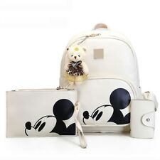 Mickey Mouse Backpack Purse Set High Quality PU Leather Portable Disneyland Bag