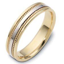 10K TWO TONE GOLD BRAIDED MENS WEDDING BANDS,HANDMADE 5MM WOMENS WEDDING RINGS