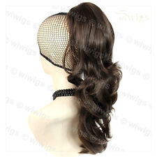 Wiwigs Medium Brown Long Wavy Claw Clip In Ponytail Hairpiece Extension