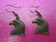 Antique Brass Eagle Head Earrings