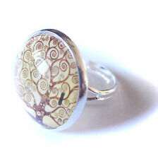 TREE OF LIFE KLIMT Glass Bubble Ring (adjustable)