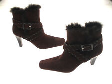 NEW YORK TRANSIT FAUX SUEDE ANKLE BOOTS SIDE ZIPPER  ADJUSTABLE  STRAP SIZE 9M