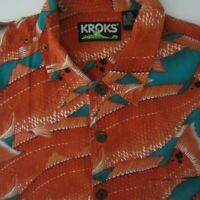 Kroks Mens 2XL Orange Teal Salmon Fish Print Short Sleeve Hawaiian Shirt  XXL