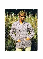 Knitting Pattern Ladies Aran Cable Cardigan with Collar Vintage PATTERN ONLY w20