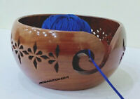 Wooden Yarn Rosewood Storage Bowl Crafted Carved Holes & Drills | Knitting