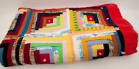 Vintage Hand Quilted Patch Quilt Log Cabin Quilt Block Pattern Hand Tied Cotton